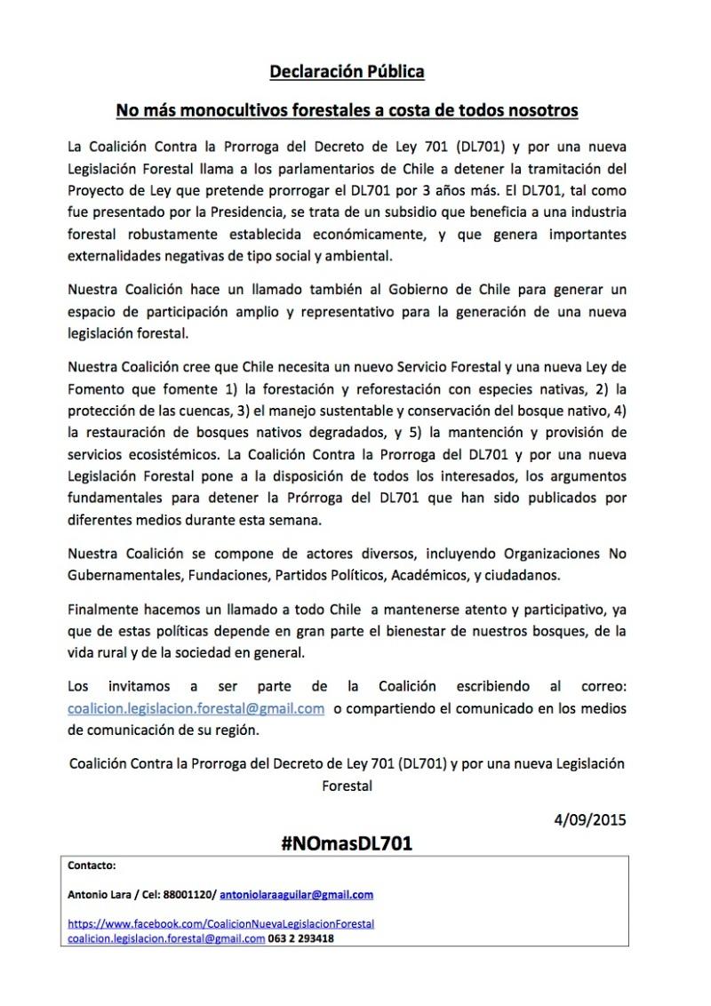 Declaracion Publica Coalicion Contra Prorroga DL701 4.09.15